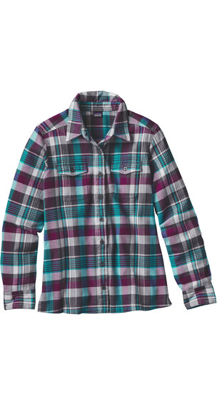 Patagonia W's Fjord LS Flannel Shirt Bay Laurel: Forge Grey
